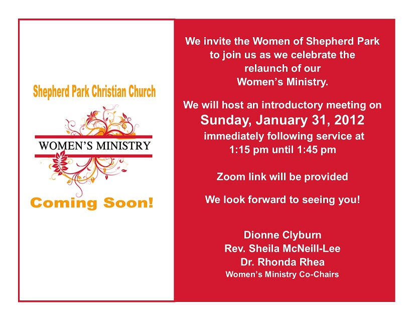 SPCC Women's Ministry will host introductory meeting on Sunday, January 31, 2021 following service. Zoom link will be provided